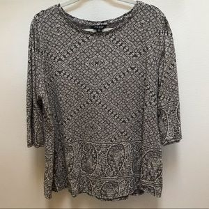Lucky Brand 2X Cotton Blouse Grey